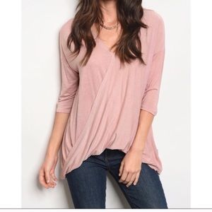 Tops - 3/$20 ☀️ Blush pink surplice top long sleeve tee